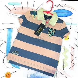 NWT Polo RL Pink and Denim Blue Rugby Shirt Sz 3T